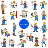 cartoon workers characters big set - 230481030