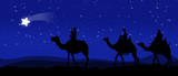 Three kings - wandering in the desert at night against the sky with stars and led by a star