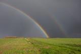 double rainbow over farmland in lincolnshire - 230494648
