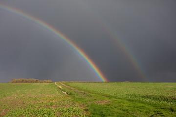 double rainbow over farmland in lincolnshire © Paul burzynski