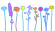 Different wildflowers abstract silhouette vector - 230495270