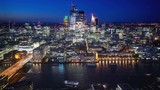 time lapse London sunset, view on business modern district, UK - 230500646