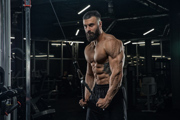 Young handsome male athlete bodybuilder doing workout in modern gym. training tricepts. Concept - strength, beauty, power, sports nutrition, diet, styroydy, health. © romanolebedev