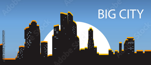 Blue Banner big city. Night city illuminated by the sun on a dark background. Black silhouettes city with light Windows. Town at backdrop sunset. The center of the city - Vector illustration.