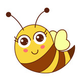 Cute cartoon bee character flying smiling and blushing. Vector illustration isolated on white