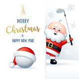 Merry Christmas and Happy New Year. Sports greeting card. Cute Santa Claus with Golf ball and Golf iron. Vector illustration.