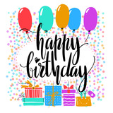 Birthday card. Happy Birthday words on bright background. Holyday design for cards, invitations and banners. - 230545251