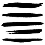 Vector set of hand drawn brush strokes, stains for backdrops. Monochrome design elements set. One color monochrome artistic hand drawn backgrounds. - 230545438