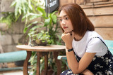 Lonely  Girl in Street Cafe Outdoors. - 230545897