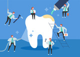 giant teeth and cute dentist character concept flat design style vector graphic illustration. - 230549613