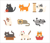 A set of cats of various colors taking various poses. flat design style vector graphic illustration. - 230549661