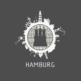 Sea shipping and travel relative silhouettes around the circle. Hamburg city element from coat of arms