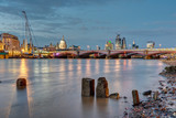 St Pauls cathedral, Blackfriars Bridge and the City of London at dusk