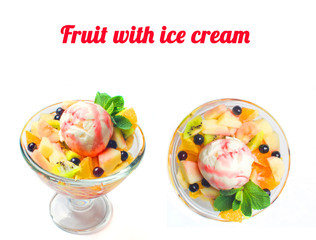 fruit with ice crem