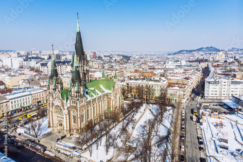 bird's eye view on old european church in winter day - 230559656