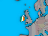 Ireland with embedded national flag on blue political 3D globe.