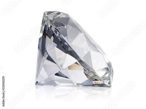 Dazzling diamond on white background - 230565219