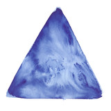Dark blue triangle painted in watercolor on clean white background - 230569295