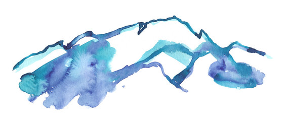 Blue and purple icy mountain peaks painted in watercolor on clean white background © tina bits
