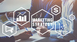 marketing strategy concept, business people team working on background - 230581029