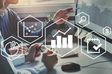 business analytics intelligence concept, financial charts to analyze profit and finance performance of company - 230581032