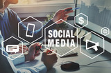 social media for business, concept background with icons - 230581045