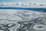 aerial landscape of glacier in Iceland, ice cap texture view seen from small airplane - 230581068