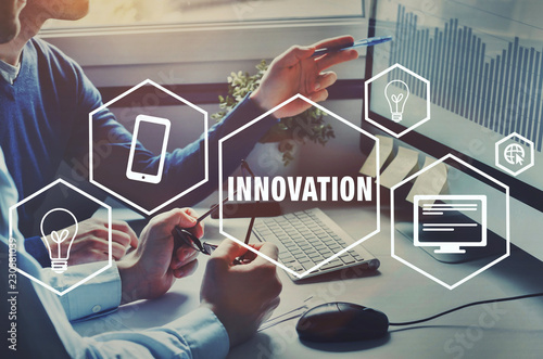 innovation technology for business, innovative idea, concept with icons