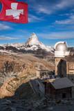 Matterhorn with observatory, Zermatt area, Switzerland - 230581250