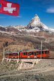 Famous Matterhorn peak with Gornergrat train in Swiss Alps, Switzerland - 230581493