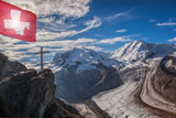 Swiss Alps with glaciers against blue sky, Zermatt area, Switzerland - 230581853