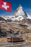 Famous Matterhorn peak with Gornergrat train in Zermatt area, Switzerland - 230582217