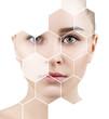 Leinwandbild Motiv Beautiful female face in honeycombs. Spa and face lifting concept.