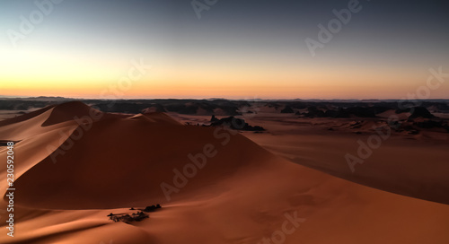 Sunrise view to Tin Merzouga dune, Tassili nAjjer national park, Algeria