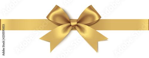 Dekoracyjny złoty łęk z horyzontalnym faborkiem odizolowywającym na białym tle. Ilustracji wektorowych