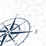 Vector compass rose perspective background.