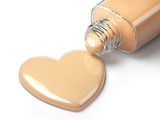 Liquid makeup foundation cream in form of the heart symbol and glass bottle. - 230598486