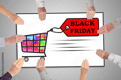 Black friday concept on a whiteboard - 230598478