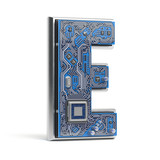 Letter E, Alphabet in circuit board style. Digital hi-tech letter isolated on white. - 230598652
