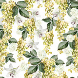 Beautiful watercolor pattern with grapes and flowers of rose, lily.  - 230606261