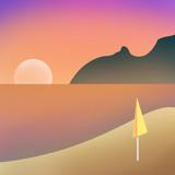 Poetto Cagliari Sardinia Sardegna beach dawn sunset Italy Flat Illustration Flat Design Gradient Grain Colours