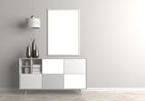 Mock up poster frame in Scandinavian style hipster interior. 3D illustration - 230609013
