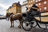 A man with a traditional carriage waits for tourists in the old town of Warsaw, Poland.