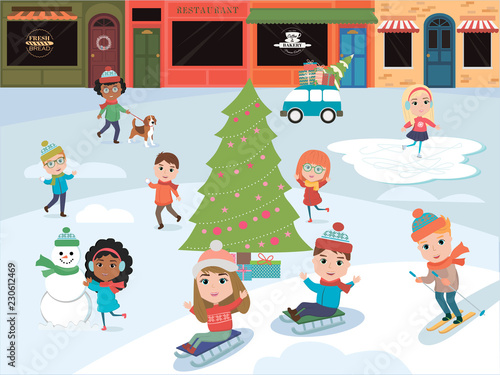 Winter fun. Illustration of kids playing outdoors in winter. Vector illustration - 230612469