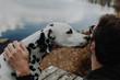 Leinwanddruck Bild - Mann an einem See mit seinem Hund beste Freunde / Guy At The Lake With Dog Best Friends
