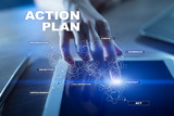 Action plan on the virtual screen. Planning concept. Business strategy. - 230617854