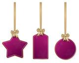 Set of hanging purple christmas price tags - 230617868