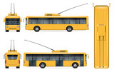Yellow trolleybus vector mockup on white for vehicle branding, corporate identity. View from side, front, back, top. All elements in the groups on separate layers for easy editing and recolor