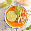 chinese soup with noddles and coriander