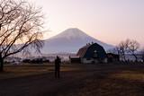 fujinomiya shizuoka camp signs and fuji mountain background in Japan at morning time  - 230621673